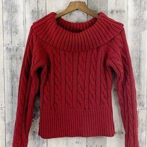 LOFT Red Cowl Neck Sweater